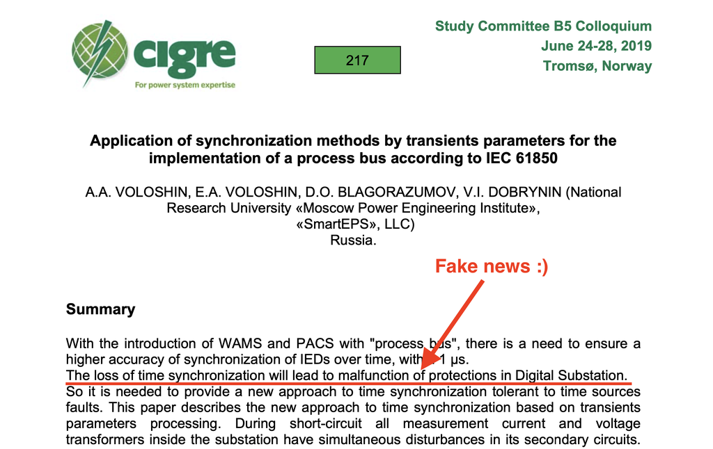 An example of the paper with warnings on PAC malfunctions in case of time synchronization failures