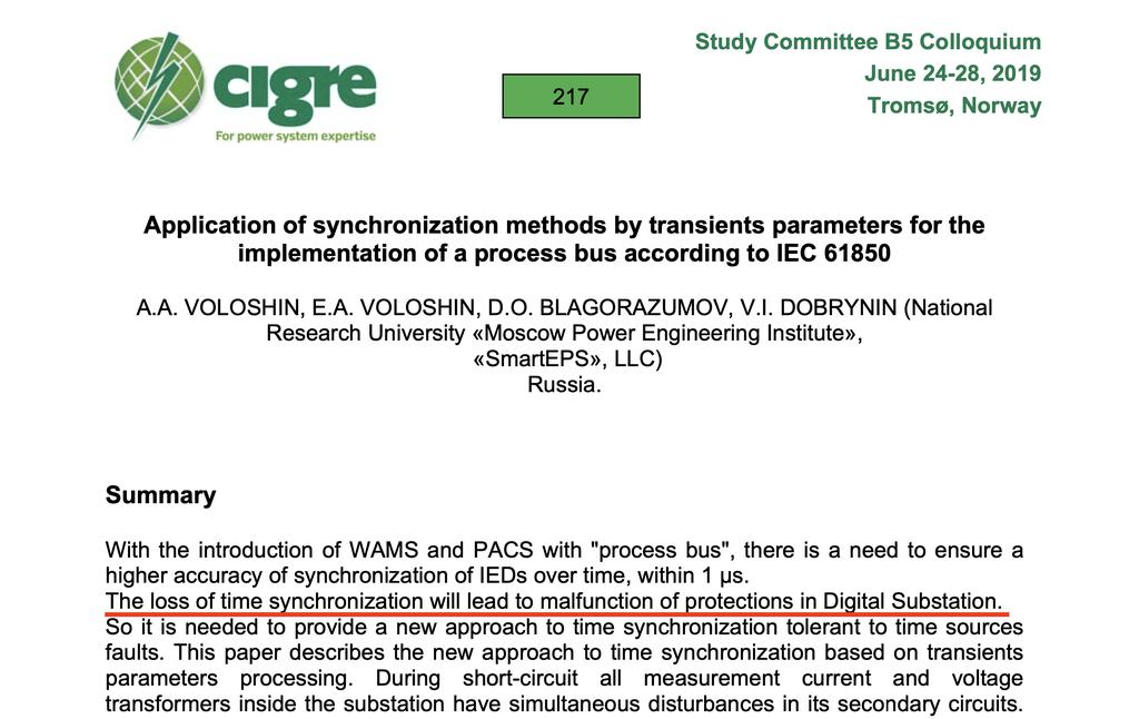 Пример научно-технической публикации, в которой утверждается, что нарушение синхронизации времени приводит к неправильной работе РЗА